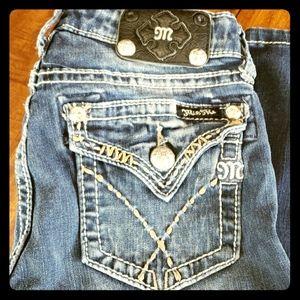 Miss Me 14 Dark Wash Skinny Jean Pant Bling Stitch